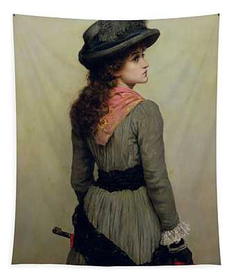 Girl With Umbrella Paintings Wall Tapestries