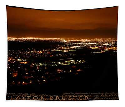 Denver Area At Night From Lookout Mountain Tapestry