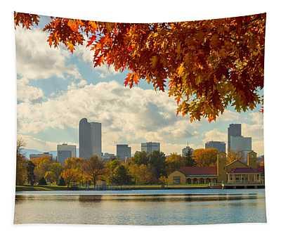 Denver Skyline Fall Foliage View Tapestry