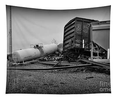 Derailed Train In Black And White Tapestry