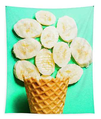 Dessert Concept Of Ice-cream Cone And Banana Slices Tapestry