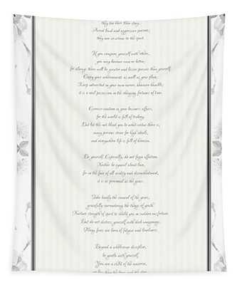 Desiderata In Silver Script By Max Ehrmann Tapestry