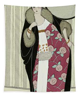 Design For Dress Made From Crepe De Chine And Fur Coat Tapestry