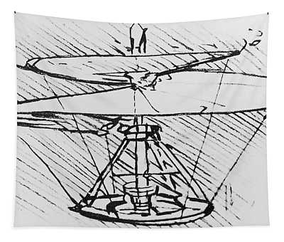 Detail Of A Design For A Flying Machine Tapestry