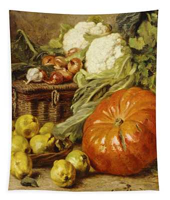 Detail Of A Still Life With A Basket, Pears, Onions, Cauliflowers, Cabbages, Garlic And A Pumpkin Tapestry