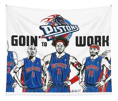 Detroit Goin' To Work Pistons Tapestry