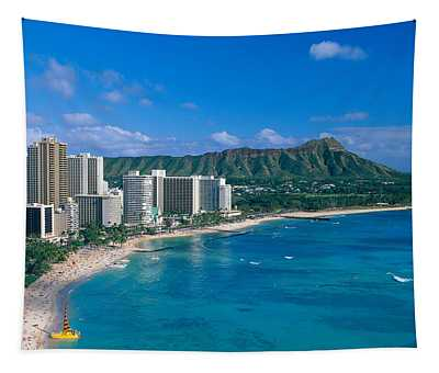 Diamond Head And Waikiki Tapestry