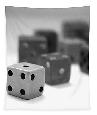 Dice 1- Black And White Photo By Linda Woods Tapestry