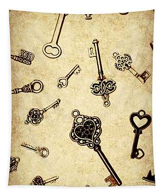 Different Keys On Textured Brown Background Tapestry