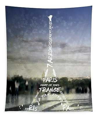 Digital-art Paris Eiffel Tower No.4 Tapestry