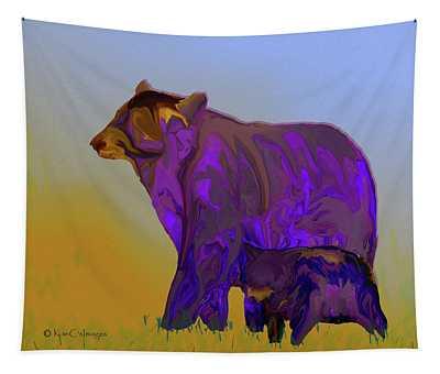 Digital Black Bear Sow And Cub Tapestry