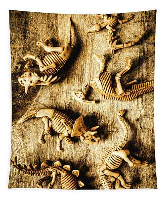 Dinosaurs In A Bone Display Tapestry