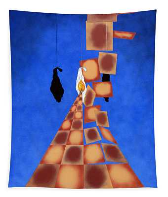 Disrupted Egg Path On Blue Tapestry