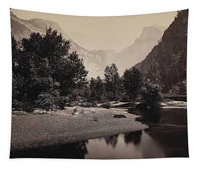 Distant View Of The Domes, Yosemite Valley, California Tapestry