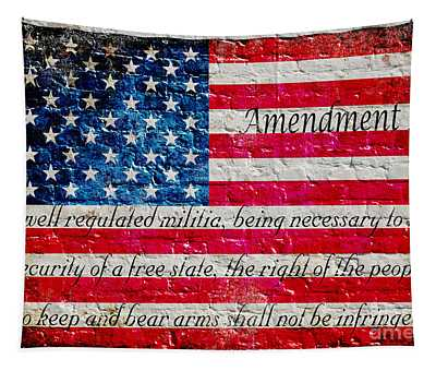 Distressed American Flag And Second Amendment On White Bricks Wall Tapestry