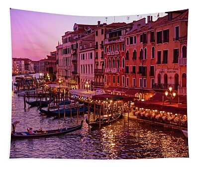 A Cityscape With Vintage Buildings And Gondola - From The Rialto In Venice, Italy Tapestry