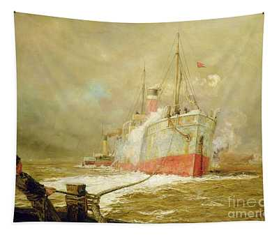 Docking A Cargo Ship Tapestry