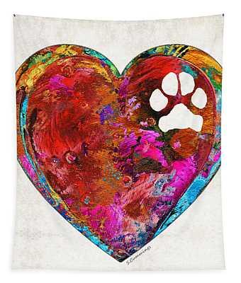 Dog Art - Puppy Love 2 - Sharon Cummings Tapestry