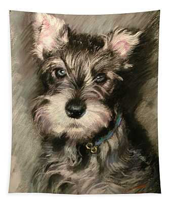 Dog In Blue Collar Tapestry