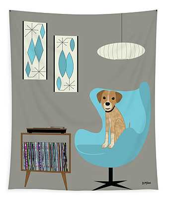 Dog In Egg Chair Tapestry