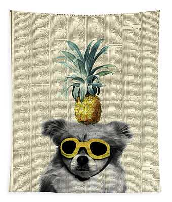 Dog With Goggles And Pineapple Tapestry