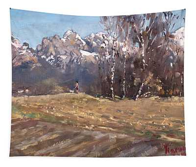Dolomites And A Lady With A Little Dog Tapestry