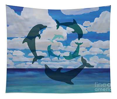 Dolphin Cloud Dance Tapestry