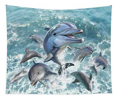 Dolphin Jump Tapestry