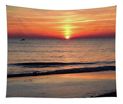 Dolphin Jumping In The Sunrise Tapestry