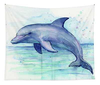 Dolphin Watercolor Tapestry