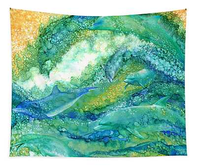 Tapestry featuring the mixed media Dolphin Waves 2 by Carol Cavalaris