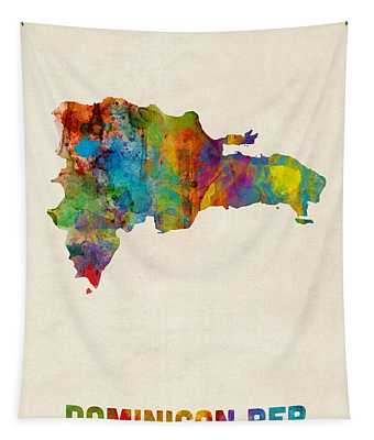 Dominican Republic Watercolor Map Tapestry
