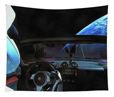 Dont Panic - Tesla In Space Tapestry