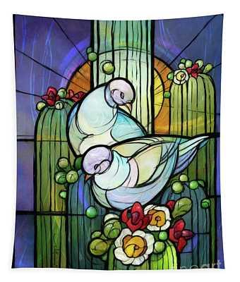 Doves On Saguaro Tapestry