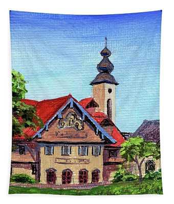 Downtown Frankenmuth Michigan Impressionistic Landscape Xxix Tapestry