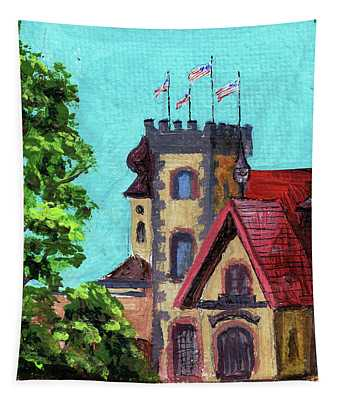 Downtown Frankenmuth Michigan Impressionistic Landscape Xxvi Tapestry