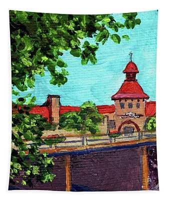 Downtown Frankenmuth Michigan Impressionistic Landscape Xxvii Tapestry