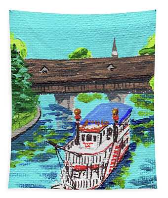 Downtown Frankenmuth Michigan Impressionistic Landscape Xxxi Tapestry