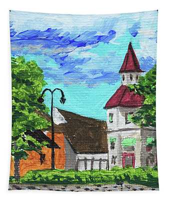 Downtown Frankenmuth Michigan Impressionistic Landscape Xxxii Tapestry