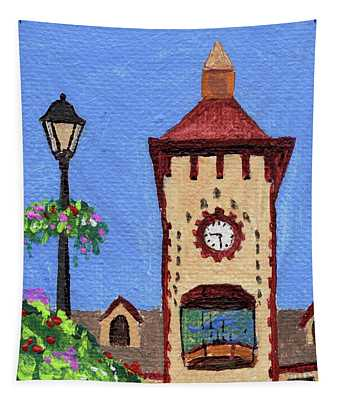 Downtown Frankenmuth Michigan Impressionistic Landscape Xxxx Tapestry