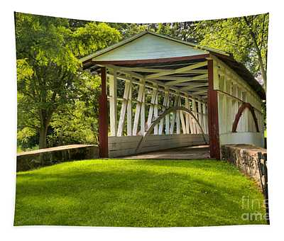 Dr. Knisely Covered Bridge Lush Landscape Tapestry
