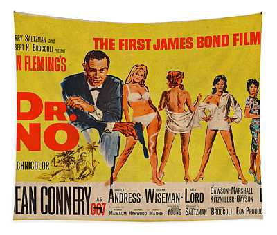 Dr No James Bond Sean Connery Vintage Movie Poster Tapestry