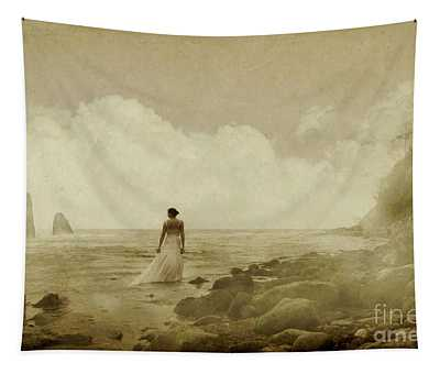 Dramatic Seascape And Woman Tapestry