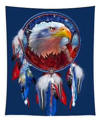 Dream Catcher - Eagle Red White Blue Tapestry