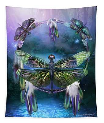 Tapestry featuring the mixed media Dream Catcher - Spirit Of The Dragonfly by Carol Cavalaris