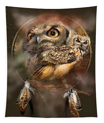 Tapestry featuring the mixed media Dream Catcher - Spirit Of The Owl by Carol Cavalaris