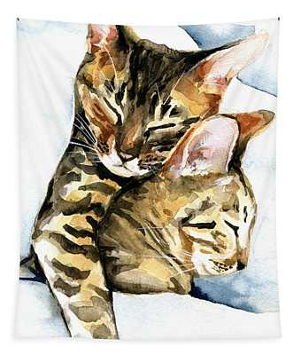 Dreamland - Bengal And Savannah Cat Painting Tapestry