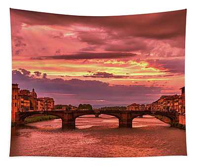 Dreamlike Sunset From Ponte Vecchio Tapestry