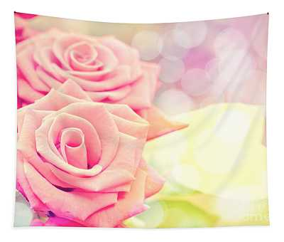 Dreamy Pastel Roses Tapestry