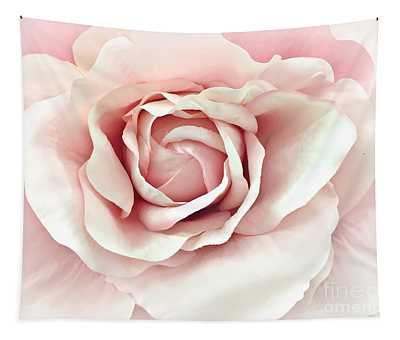 Blush Pink Rose - Romantic Pastel Pink Shabby Chic Rose Closeup - Watercolor Roses  Tapestry